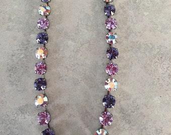 Purple and aurora borealis swarovski crystal necklace