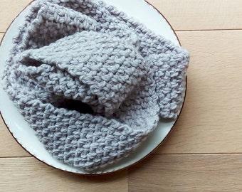 soft beige brown crocheted scarf