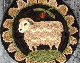 Miss Woolsey - PAPER rug hooking pattern from my Winter Cottage. Hooked Rug Pattern. Sheep Chair Pad. Reusable Pattern.