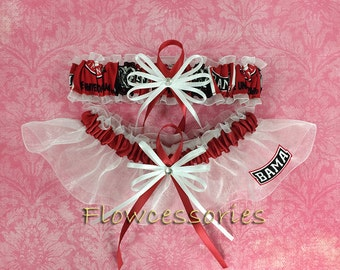 Pick Charm - University of ALABAMA CRIMSON TIDE handmade bridal garters - keepsake garter set