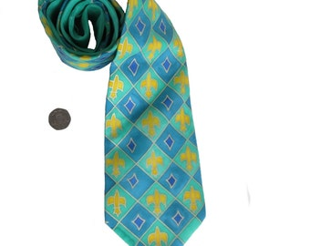 Hand Painted Silk Tie, Gifts for men, Man's Silk Tie, Green Tie, Blue Silk Tie, Fleur-de-lis Tie