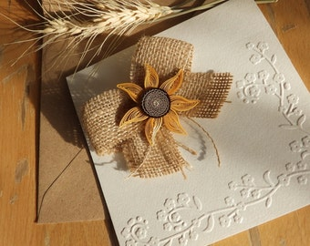 Handmade sunflower wedding invitation/Burlap wedding invitation/Country invite/Burlap bow invite/Unique burlap invitation/Rustic invitation