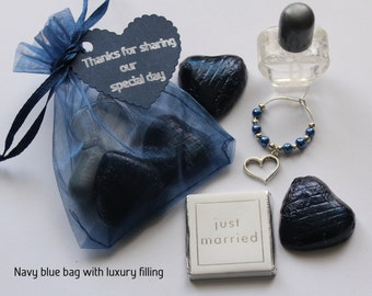 Navy Blue wedding favour bags with a selection of fillings - heart, butterfly, flower or lovebird theme