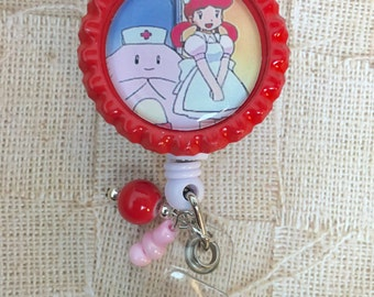 Pokemon Nurse Joy Retractable badge reel RN LPN CNA gift