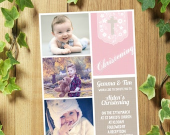 20 Personalised Christening Baptism Invitations Invites/Thank You Cards for Boy or Girl