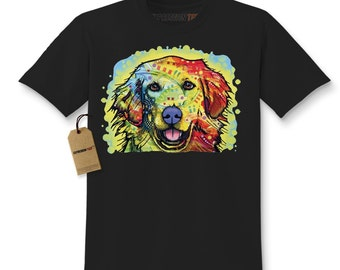 Kid's Rainbow Golden Retriever Shirt Printed Youth Abstract Psychedelic Dog T-Shirt #1219 by Expression Tees Trending Clothing USA Seller