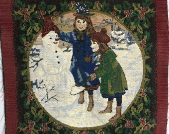 Christmas Tapestry Panel: Children and Snowman
