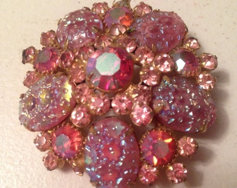 Juliana D&E German Pink Pressed Glass, Pink and Pink AB Rhinestone Brooch