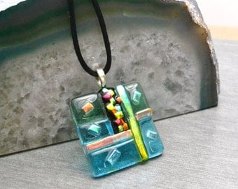 Dichroic Glass Pendant Necklace, Dichroic Jewelry, Art Glass Pendant, One Of A Kind, Colorful Patterns of Glass, One of a Kind, Unique