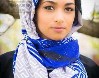 "Geometric Themed Scarf with Glitter | Shawl | Muslim Hijab | 66"" x 25"" | Women Head Wrap"