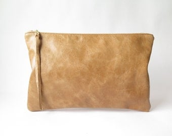 Brown Leather Clutch. Large Leather Pouch. Leather Zippered Bag