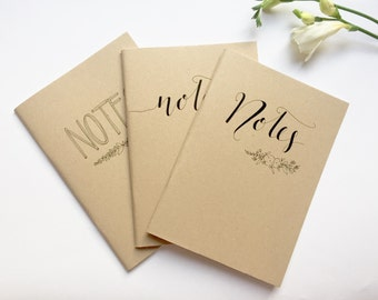 Hand illustrated notebooks 3/pk, notes, floral, typography, gift