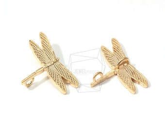 JS12081/5Pcs-Tiny Dragonfly Charm-Matte Gold Plated Over Brass Dragonfly Pendent-Dragonfly Sideways Connectors-Insect Charm-2 Hole Links