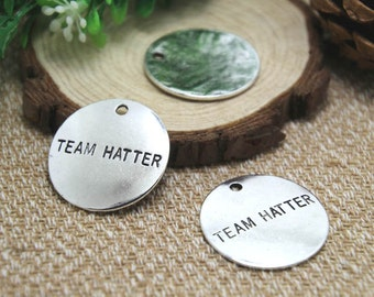 5pcs-- team hatter Charms Silver tone large disc team hattercharms pendants 32mm D1556