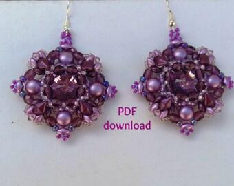 """PDF tutorial earrings """"Sideria"""", PDF pattern,diamonduo earrings,diamonduo pattern, superduo tutorial, diamonduo earrings,"""