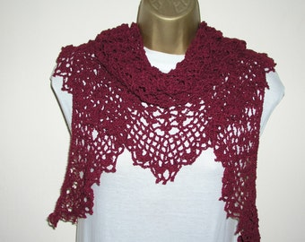 Red, maroon crochet shawl wrap, lightweight lace, handmade, ready to ship