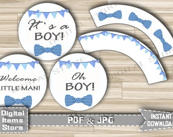 Bow Tie Baby Shower Decorations Cupcake Toppers and Wrappers Printable Blue with banner  - Party Toppers Blue Boy - Instant Download - bt1