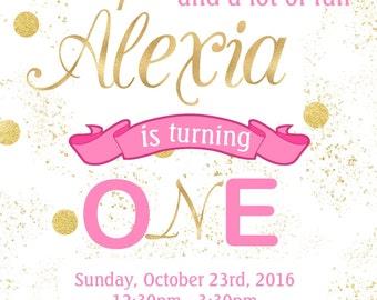 Birthday Invitation, Girl Birthday Invite, Pink and Gold Invitation, Gold Birthday, First Birthday Invitation