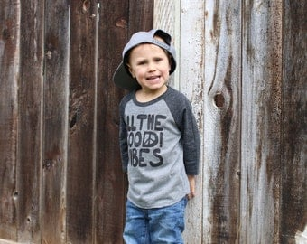All the good vibes baseball shirt, positive vibes, good vibes shirt, good vibes only, unisex baby clothes, hipster baby clothes, GREY/BLACK