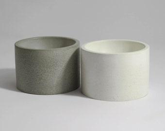 ZEN - Set of 2.  White/gray Concrete Multipurpose bowls