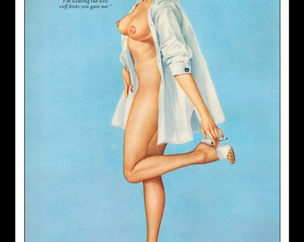 """Vargas Playboy Pinup Girl Vintage March 1963 """"New cuff links.."""" Sexy Brunette Nude Mature White Jacket Pinup Wall Art Deco Print"""