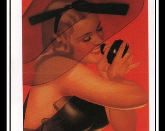 """George Petty Vintage Pinup Illustration Sexy Pinup Green River Wall Art Deco Book Print Small 4"""" x 7"""""""