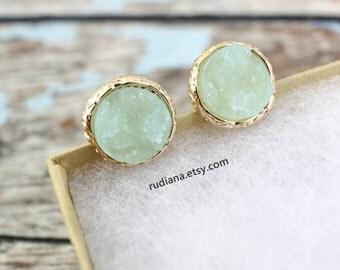 Mint Green Druzy  Studs Earrings, Mint Green Studs Earrings, Dainty Earrings, Bridesmaid Gift, Bridal Shower Gift