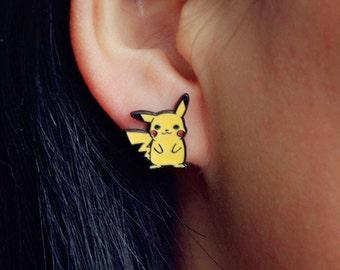 Pikachu, Pokemon, Handmade Stud Earrings - Cute!