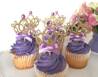 Sofia the First Inspired Cupcake toppers, Sofia Crown, Princess cupcake toppers