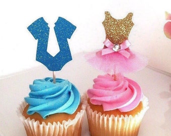 Gender Reveal Cupcake Toppers, Baby shower decorations, babyshower cupcake toppers