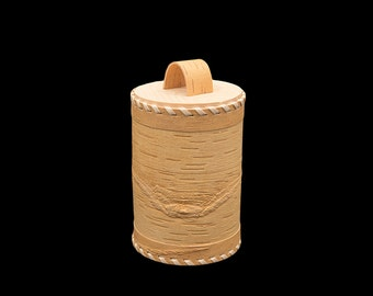 Wooden kitchen jar, Birch bark rustic style canister, Traditional wooden houseware