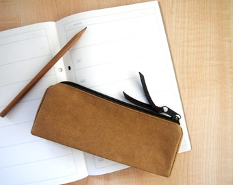 Washable Paper Zipper Pouch, Pencil Pouch, Pencil Case, College, Kids, School Supplies, Teens, Women, Organize Case Washable Kraft Paper