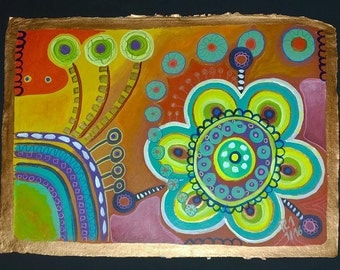 abstract, naive painting: Flowers and ornaments