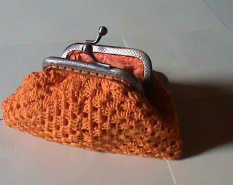 wallet in orange cotton, purse