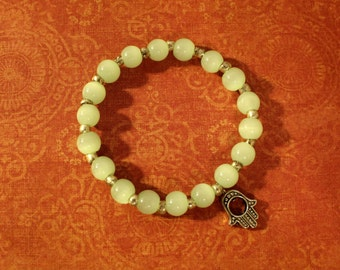 Serene Bracelet Featuring Mint Coloured Glass Beads and Hamsa Charm
