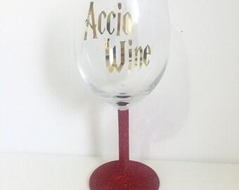 Accio Wine Harry Potter Quote Glitter Wine Glass