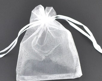 25 Organza bags, white organza bags 12cm x 9cm, party favor bags, jewelry bags, mesh bags, wedding favor bags, birthday party bags, 7735