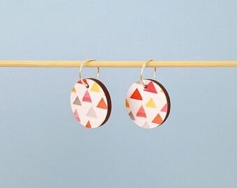 Wooden earrings, wood earrings, decoupage earrings, dangle earrings, sterling silver earrings, drop earrings, gift for her, wood jewellery