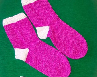 Socks in bright pink and white details, size 36