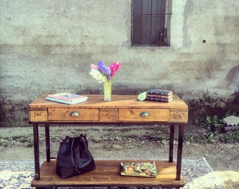 "Console ""Lilli"" with drawers made with reclaimed wood, industrial design"