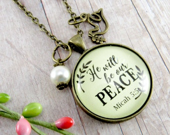 God Will Be Our Peace Dove Necklace with Dove of Peace Charm Gift For Her Christian Peace Pendant with Bible Verse Scripture