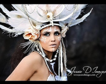 Ooak...  shaman headdress, bone headdress, feather headress, headpiece, fantasy headpiece, burning man, tribal headdress, skull headdress