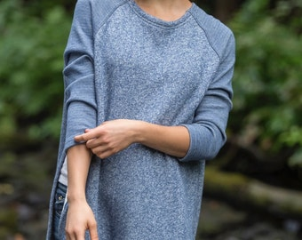 East End Sweater in Heather Blue