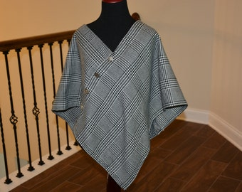 Houndstooth Wool Poncho
