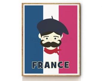 French Artist Nursery Prints, Nursery Art Prints, Nursery Wall Art, Wall Decor, Childrens Art, Childrens Wall Art, Kids Wall Art -KP0029