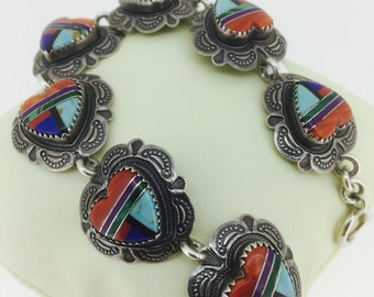 Vintage Navajo Indian Silver Bracelet inlaid with hard stones by Richard Begay