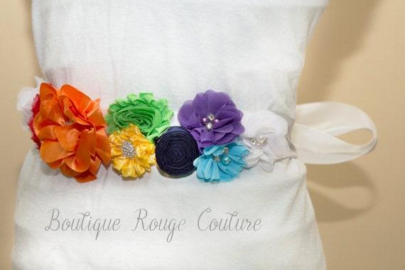 Rainbow Floral Maternity Sash