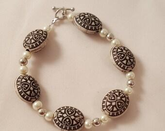 Tribal Bracelet - Pearl Bracelet - Silver Bracelet - Beaded Bracelet - Women's Bracelet - Tribal - Bracelet - White Bracelet -Brown Bracelet