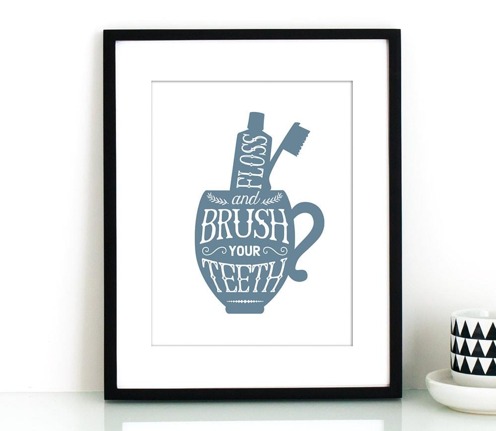Bathroom Wall Decor Printable Brush Your Teeth By Thecrownprints