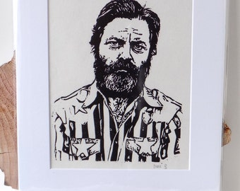 Nick Offerman, the giant among men.  Wood block print